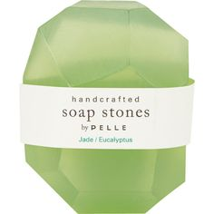 Pelle Jade/Eucalyptus Nugget Soap - Small ($5) ❤ liked on Polyvore featuring beauty products, bath & body products, body cleansers, fillers, beauty, makeup, green fillers, green and magazine