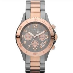 Marc Jacobs Gunmetal and Rose Gold Watch This flashy rose gold and gunmetal Marc by Marc Jacobs timepiece is gorgeous in person. Only worn a few times and have gotten so many compliments on it! Comes with box, user manual and extra links. Needs a new battery. Marc by Marc Jacobs Jewelry