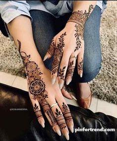 Pretty Henna Designs, Modern Henna Designs, Indian Henna Designs, Latest Henna Designs, Henna Tattoo Designs Simple, Finger Henna Designs, Mehndi Designs 2018, Mehndi Designs For Fingers, Dulhan Mehndi Designs