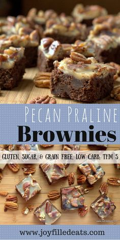 Pecan Praline Brownies - The best brownie ever. Rich, fudgey, full of chocolate, covered with pecans and creamy praline. Gluten/Grain/Sugar Free, Low Carb, THM S.