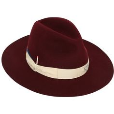 Borsalino By Nick Fouquet Women Beaver Fur Felt Brimmed Hat With Match ($935) ❤ liked on Polyvore featuring accessories, hats, bordeaux, stitch hat, brimmed hat, borsalino, felt hat and borsalino hats