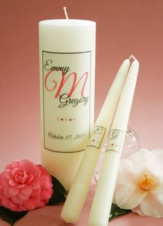 Elegant Coral Personalized Initial Wedding Unity Candle Set with Crystals- Affordable Elegance Bridal