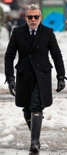 Fitted Black Wool Overcoat and Black Wellies. Men's Fall Winter Fashion.