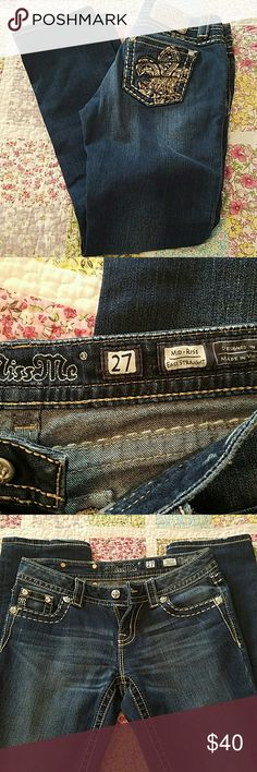 Miss me jeans Near perfect condition. Size 27 with 32 inseam. All bling still intact. Just a little wear on the bottoms but not noticeable. Easy straight leg. Miss Me Jeans Straight Leg