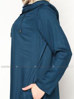 Robe à capuche - Pétrole - Robe - Modanisa