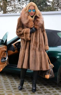 Brown mink and fox coat