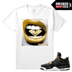 cheap for discount 17376 1e712 Match Jordan 4 Royalty   Diamond Lips   White T shirt