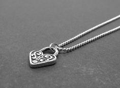 Heart Padlock Necklace Sterling Silver by GirlBurkeStudios on Etsy, $30.00