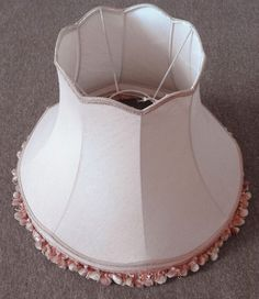 Large vintage dusky pink fabric lampshade for floorstanding - Standard lamp