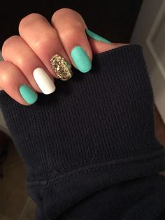 #summernails #matte #turquoise #white #golden #glitter #nails #essie #kiko