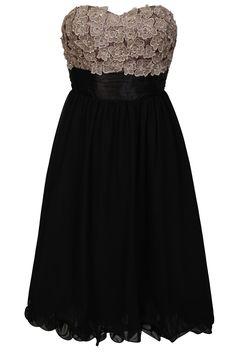 Vintage Rose and Black Applique Embellished Prom Dress | Little-Mistress