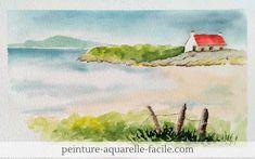 Aquarelle : paysage d'une maison au bord de la mer. Aquarelle disponible dans le Club Aquarelle Watercolor, Small Houses, Portrait, Nature, Painting, Journal, Club, Beauty, Watercolour