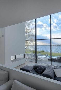 House by a Lake in Belgium: contemporary Belgian residence - design by BBSC-Architects - lakeside property, contemporary Belgian house, architecture Interior Architecture, Interior And Exterior, Property Design, House Built, Deco Design, Modern Interior Design, Home Living Room, Interior Inspiration, Furniture Design