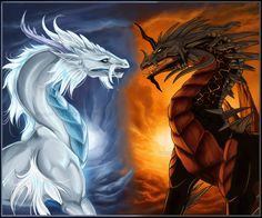 Even opisite elemental dragons can be friends [white=snow angel dragon black=volcanic wasteland dragon]