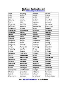 Grade Spelling Bee Word List by Spelling Words Well 8th Grade Spelling Words, Spelling Bee Word List, Spelling For Kids, Punctuation Activities, 8th Grade English, 7th Grade Reading, Scramble Words, English Spelling, Vocabulary Words