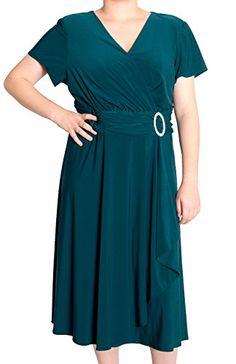 R & M Richards Women's Cascading Ruffle Detail Dress (16W, 18W, 22W) only $59 (was $89) #plussize #dresses