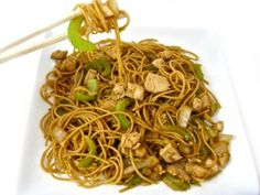 Skinny Chicken Chow Mein: 8 Oz. Spaghetti, 2 C. Sliced Celery, 2 C. Diced Onion, 5 C. Shredded Cabbage, 1½ C. Diced Cooked Chicken Breast, 2 Tspn Vegetable Oil, Sauce:?? Soy Sauce, Brown Sugar, Water, Minced Garlic, Ginger