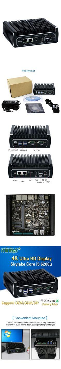 Minisys fanless linux computer intel core i5 6200u 4k mini pc dual nic barebone nvidia pcs support ddr4 8gb ram 128g SSD hdmi2.0