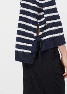 Side slit cotton-blend sweater