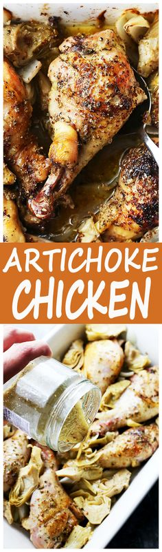 Artichoke Chicken Recipe - An incredibly delicious meal with baked chicken pieces and marinated artichoke hearts!