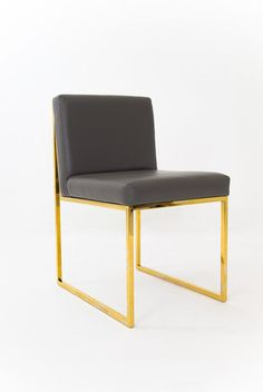 faux leather and brass dining chair | ModShop