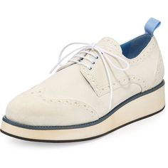 Furla Suede Rubber-Bottom Wing-Tip Oxford (2.070 RON) ❤ liked on Polyvore featuring shoes, oxfords, suede shoes, white low heel shoes, suede oxfords, wingtip oxford shoes and wingtip shoes