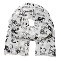 Stylish black/white Moomin scarf with a printed pattern of Moomins on holiday. Stylish and easy to combine with your outfit. Material: 100 % viscose. Size: 70 x