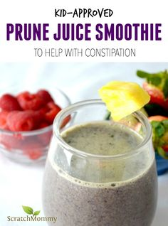 Kid-Approved Prune Juice Smoothie (to help with constipation) – The last thing any parent wants is for their child to suffer from constipation. Try this kid-approved prune juice smoothie to help move things naturally along. Toddler Smoothies, Smoothies For Kids, Healthy Smoothies, Healthy Drinks, Smoothie Recipes, Milkshake Recipes, Smoothie Ingredients, Green Smoothies, Drink Recipes