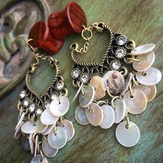 Sweetheart Shells Dangle Bloodwood Plugs-Handcrafted/diamonds &gold /Elegant/Earthy/Size 00g(10MM) 7/16'(11mm)/Wood Gauges/Wedding/Formal/