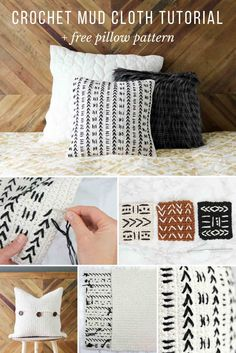 This free crochet pillow pattern uses a mud cloth inspired design to make a West-Elm-inspired throw pillow! Excellent pattern for beginners via @makeanddocrew