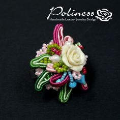 Wedding jewelry Wedding ring Ring with rose by PolinessJewelry Soutache rings - beads ring - Handmade jewelry - Ebroidery