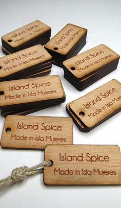 1 x 2 Custom Wood Tags, Custom Engraved Tags  by GrainDEEP