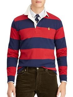 Polo Ralph Lauren Men's The Iconic Rugby Classic Fit Shirt - Eaton Red/ Newport Navy S Polo Shirt Outfits, Preppy Outfits, Preppy Style, Style Men, Stylish Mens Fashion, Men's Fashion, Fasion, Fashion Styles, Spring Fashion