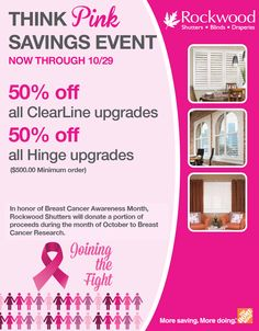 dfda3de709981 Think Pink Savings Event in honor of Breast Cancer Awareness Month at The  Home Depot. Save off all ClearLine upgrades and off all Hinge upgrades.