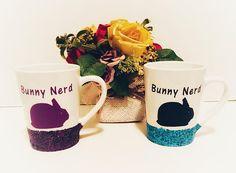 Rabbit Coffee Mug Glitter Dipped Mug Sparkly Coffee Mug