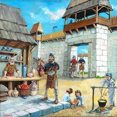 Inside of a Dacian fortress. Artistic reconstruction by Cătălin Drăghici.