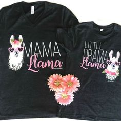 Mama Llama Little Drama Llama Mommy and Me graphic tee set from Pink Armadillos ®️️ makes a perfect Mother's Day gift! 1st Birthday Party For Girls, Birthday Party Decorations, Birthday Ideas, 7th Birthday, Llama Birthday, Birthday Shirts, Daddy Birthday, Girlfriend Birthday, Baby Llama