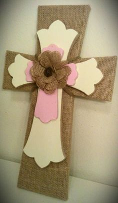 Burlap Decorative Cross with Ivory and Baby Pink. $40.00, via Etsy.