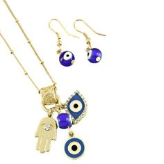"Matte Gold Plated Fashion Necklace and Earring Set For Women With Blue Evil Eye and Hamsa Hand Charms - 18"" Length $7.50"