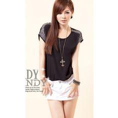 Korean Style Women Round Neck Short Sleeve Blue Blends Tops One Size... ($11) via Polyvore