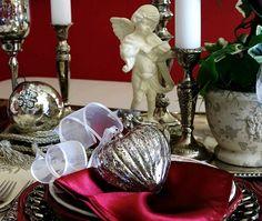 MERCURY GLASS HEART ORNAMENT CUPID