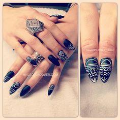 Tribal matte black acrylic stilleto nails