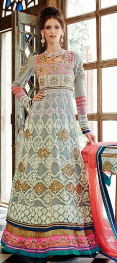 421210, Anarkali Suits, Net, Machine Embroidery, Resham, Stone, Zari, Border, Lace, Black and Grey Color Family