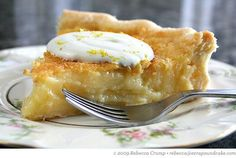 This is the best pie ever:  Edna Lewis's lemon chess pie.