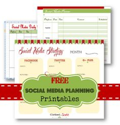 Free Download - Social Media Planning Printables. Get it when you sign up for our Free Online Business Startup Kit!!