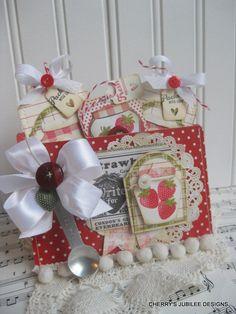 Strawberries mason jar mini stitched recipe Card Pocket w/handmade tags