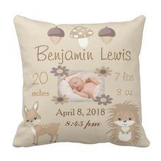 Woodland Animals Nursery Photo Baby Keepsake Throw Pillow - baby gifts child new born gift idea diy cyo special unique design