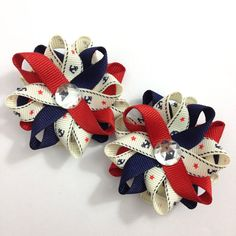 Red & Blue Anchor Nautical Small Hair Bow Set - Handmade Hair Bow Set - Red, Navy Blue Hair Bow Set - Boating Bows - #Nautical #HairBows - Sailing #Etsy