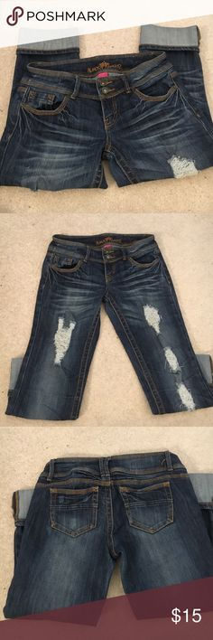 Shredded capris Shredded capris with cuffs sewn. Almost Famous Pants Capris