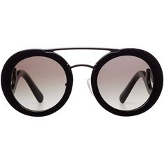 Prada Minimal Baroque Sunglasses ($240) ❤ liked on Polyvore featuring accessories, eyewear, sunglasses, black, metal frame glasses, black glasses, prada eyewear, black gradient sunglasses and prada sunglasses